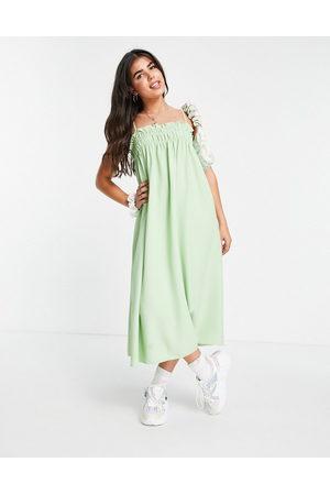 Lola May Women Casual Dresses - Shirred midaxi cami smock dress in wasabi