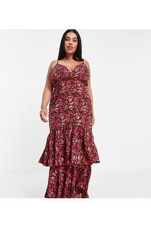 In The Style X Jac Jossa peplum ruffle hem midi dress in floral print