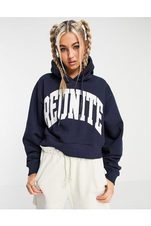 Weekday Easy organic blend cotton hoodie with slogan front in navy