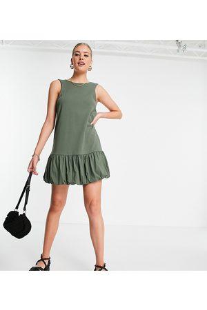 ASOS DESIGN Tall bubble hem v back sleeveless dress in khaki