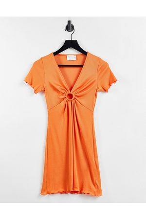 ASOS Ribbed short sleeve mini dress with ring detail in