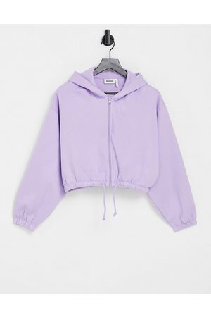 Weekday Miriam organic cotton blend hoodie with zip front in lilac