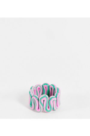 ASOS ASOS DESIGN Curve ring in plastic chubby swiggle design in green and pink marble-Multi