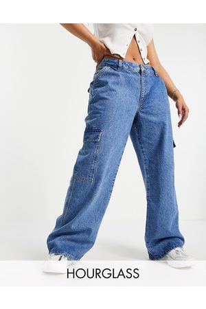 ASOS Hourglass organic cotton blend low rise 'super relaxed' dad jeans with patch pockets in lightwash