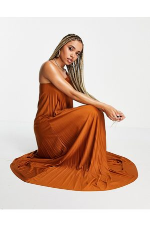 ASOS DESIGN One shoulder scrunch elastic pleated maxi dress in rust