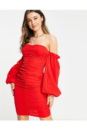 In The Style Women Evening Dresses - X Jac Jossa ruched off shoulder mini dress in