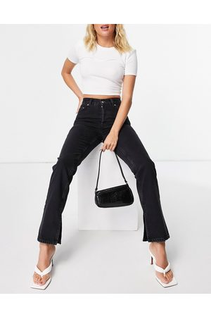 ASOS Organic cotton blend mid rise '90's' straight leg jeans in washed with split hem