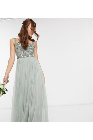 Maya Bridesmaid sleeveless square neck maxi tulle dress with tonal delicate sequin overlay in sage