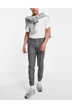 ASOS DESIGN Smart slim jogger cuff trousers co-ord with prinstripe