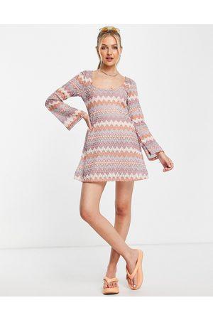 ASOS DESIGN Women Casual Dresses - Scoop neck long sleeve mini dress in crochet tonal zig zag