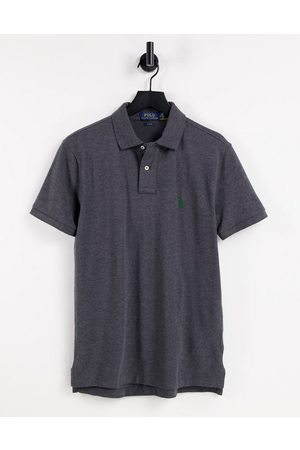 Polo Ralph Lauren Men Polo Shirts - Player logo slim fit pique polo in charcoal marl