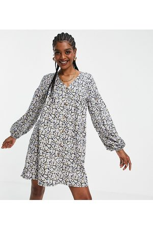 ASOS Tall Women Casual Dresses - ASOS DESIGN Tall button through mini smock dress with long sleeves in and blue floral