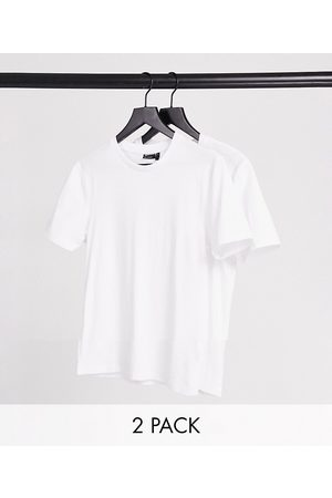 ASOS DESIGN 2 pack organic cotton blend muscle fit t-shirt with crew neck