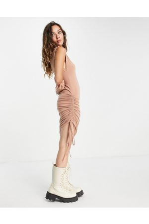 Noisy May Exclusive ruched bodycon mini dress in camel-Neutral
