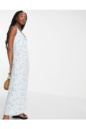 Style Cheat Knot front slip dress with split in ditsy floral