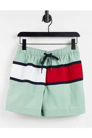 Tommy Hilfiger Men Swim Shorts - Swimshorts in mint with large flag logo