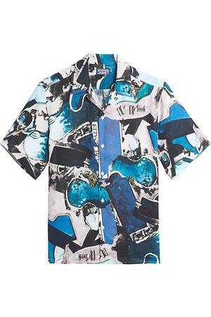 Vilebrequin Pool Print Linen Camp Shirt