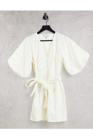 Pretty Lavish Oversized sleeve tie waist mini dress in