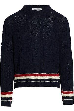 Thom Browne Donegal Tweed Filey Stitch Stripe Detail Sweater
