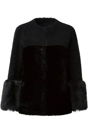 AKRIS Reversible Leather & Dyed Lamb Fur Jacket