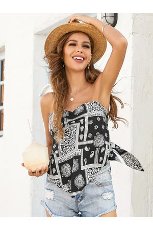 YOINS Scarf Print Backless Tie-up Design Sleeveless Tube Top