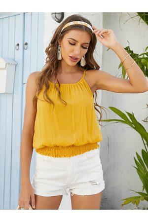YOINS Shirring Design Round Neck Sleeveless Cami