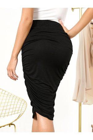 YOINS Ruched Elastic Waist Midi Skirt