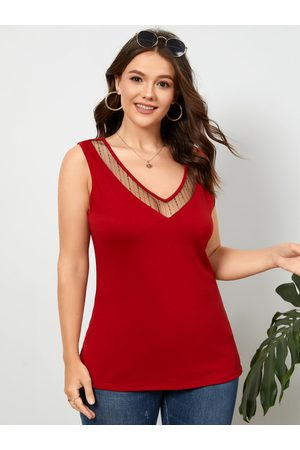 YOINS BASIC Plus Size V-neck Lace Patchwork Design Tank Top