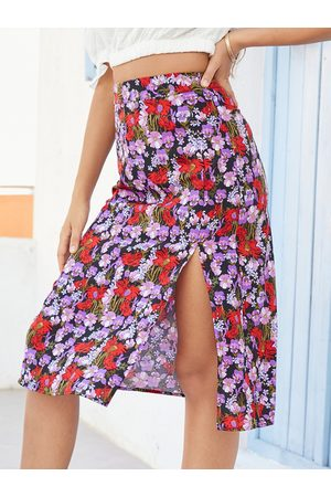 YOINS Floral Print Slit Hem Midi Skirt