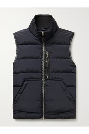 Tom Ford Men Gilets - Leather-Trimmed Quilted Shell Down Gilet