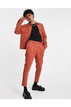 ASOS Men Skinny Pants - Co-ord skinny crinkle smart tapered trousers in rust