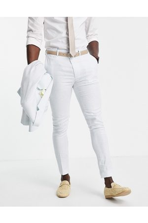 ASOS Wedding linen super skinny suit trousers with puppytooth check in
