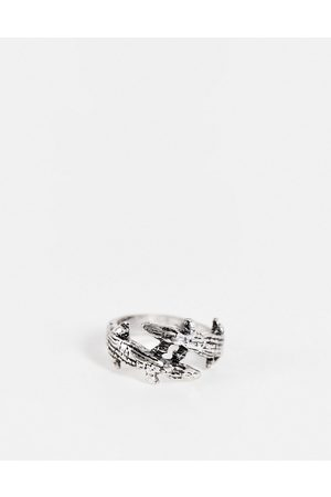 ASOS DESIGN Men Rings - Ring with double crocodile design in burnished tone