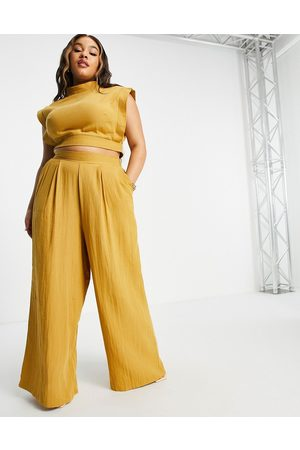 ASOS EDITION Curve wide leg trouser with stitch detail in mustard