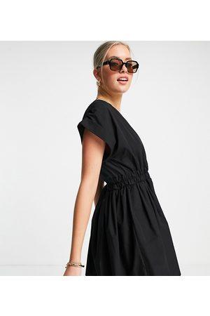 ASOS Women Casual Dresses - ASOS DESIGN Tall cotton poplin gathered waist mini dress in