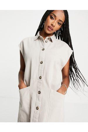 Noisy May Women Casual Dresses - Denim shirt dress in stone