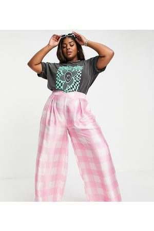 Twisted Wunder Plus Wide leg trousers co-ord in pink oversized check-Multi