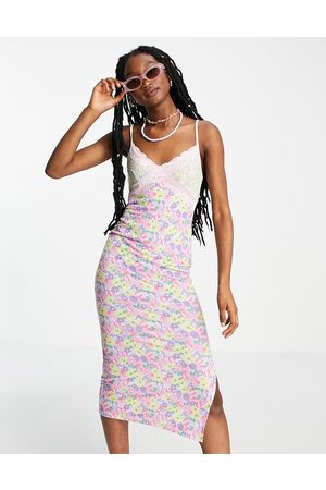 ASOS Women Casual Dresses - Strappy lace trim midi slip dress in mix and match floral-Multi