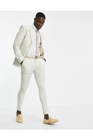 ASOS DESIGN Wedding linen super skinny suit trousers with puppytooth check in
