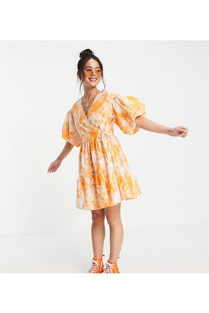 Collusion Women Casual Dresses - Broderie mini wrap dress in acid wash in and orange