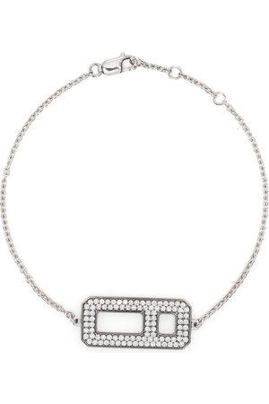 AS29 18kt white and black gold DNA pavé diamond chain bracelet