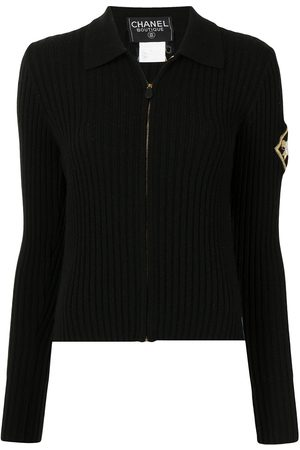 Chanel Pre-Owned 1996 emblem embroidery zip-up cardigan