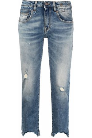 R13 Distressed-finish cropped jeans