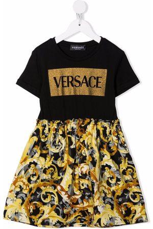 VERSACE Girls Printed Dresses - Baroccoflage-print A-line dress