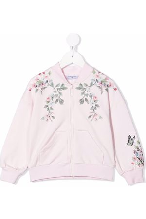 Monnalisa Floral-print zip-up bomber jacket