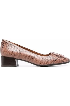 Tory Burch Snakeskin-effect slip-on leather loafers