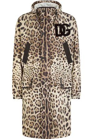 Dolce & Gabbana Men Rainwear - DG logo-patch leopard-print raincoat