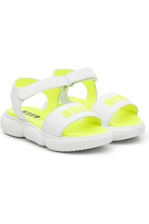 MSGM Kids Logo leather touch-strap sandals