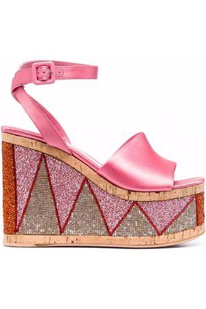 HAUS OF HONEY Bead-embellished wedge sandals