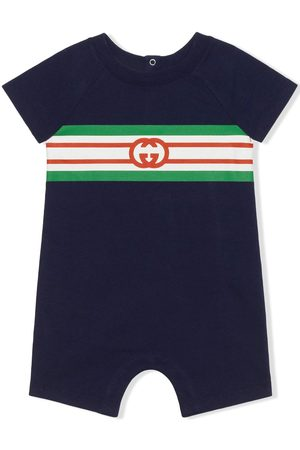 Gucci Kids Monogram-print stripe-detail one-piece